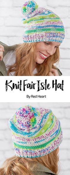 3def85da83d Knit Fair Isle Hat free knit pattern in Super Saver Fair Isle yarn. This  easy