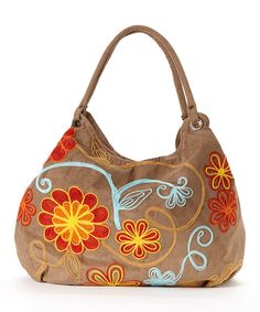 Bamboo54 Tan Embroidered Hobo by Bamboo54 #zulily #zulilyfinds