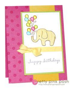 DeNami Birthday Polka Dot Elephant card #balloons