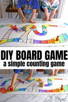 DIY Math Dice Game — Days With Grey DIY board game for kids, how to make a board game for kids, children math counting game Preschool Board Games, Math Board Games, Board Games For Kids, Dice Games, Preschool Activities, Diy Board Game, Kids Board, Therapy Activities, Space Activities