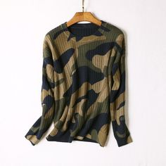 Camouflage Contrast Colors Round Neck Bat Sleeve Loose Knit Sweater 503 Sweater…