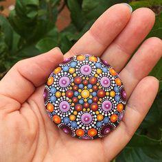 Hand-painted Stone Mandala warm colors dotting