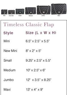 e8625b4096ac Chanel Classic Sizes Chanel Bag Classic