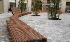 Contemporary wooden public bench (with backrest) Divers cité