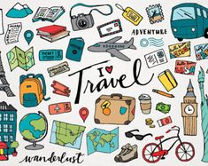 Travel clipart & look at clip art images - clipartlook Images Kawaii, Travel Clipart, Travel Doodles, Drawing Clipart, Art Clipart, Travel Icon, Clipart Design, Travel Illustration, Travel Scrapbook