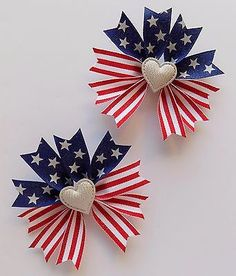 "***ABOUT THIS ITEM*** ~NEW ~Set of 2 for pigtails  ~Roughly 4.5"" wide ~Stars and stripes ribbon with glitter and silver sequin hearts ~Handmade by me ~Added no-slip grips ~Alligator clips ~Stiffened to hold their shape and heat sealed ribbon ends to prevent fraying. ~~Check out my other listings for more hair accessories!"