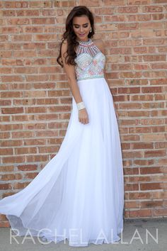 6865514938f Rachel Allan 7187 - Chiffon A-line gown with beaded top and sheer illusion  neckline · Pretty Prom ...
