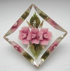 1940's Lucite clear reverse carved rose pink flowers brooch