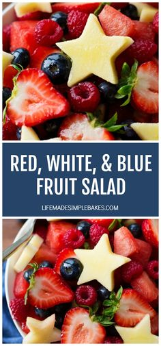 This red, white and blue fruit salad is perfect for summer picnics and celebrations! It's a festive and fresh combination of fruit drizzled with a touch of honey citrus dressing. Wheat Berry Salad, Picnic Sandwiches, Pecan Chicken Salads, Blue Fruits, 12 Recipe, Fruit Salad Recipes, Chocolate Chip Oatmeal, Yummy Food, Delicious Recipes