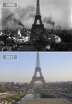 """One of the Paris photos shows the """"Globe Celeste"""" next to the Eiffel Tower which was a huge globe with a diameter. The globe hosted panoramic shows of Then And Now Pictures, Before And After Pictures, Paris Pictures, Paris Photos, Eiffel Tower History, Beautiful Ruins, Old Paris, Photos Voyages, History Photos"""