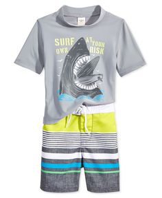 Osh Kosh Little Boys' 2-Piece Shark Rashguard & Board Shorts Set