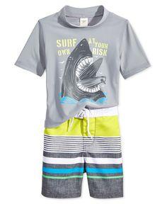 Osh Kosh Little Boys' 2-Piece Shark Rashguard & Board Shorts Set