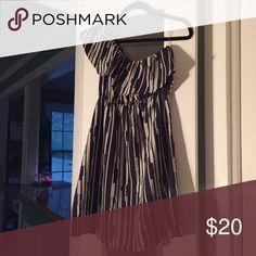 Boutique one shoulder dress Private Gallery dress, looks like new! Navy/cream. Private Gallery Dresses One Shoulder