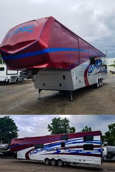 Just in time for 4th of July! This Toy Hauler came back from paint sporting the RED, WHITE & BLUE! Luxury Fifth Wheel, Fifth Wheel Toy Haulers, Paint Schemes, Outdoor Gear, Tent, Building, Wheels, Blue, Painting