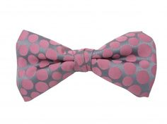 Ready Tied Bow Tie With Pink Spots on Grey Background - Great for weddings