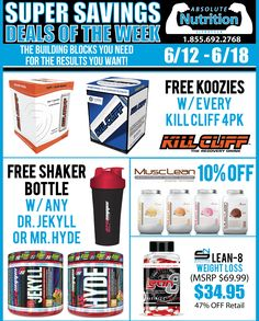 Weekly Deals 6/12-6/18 on Kill Cliff, ProSupps Dr. Jekyll or Mr. Hyde, Metabolic Nutrition MuscLean, and Swinney Nutrition Lean-8 Weight Loss!