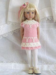 "Little Darling Effner 13""BJD pink & ivory hand knit set OOAK by JEC #ClothingAccessories"