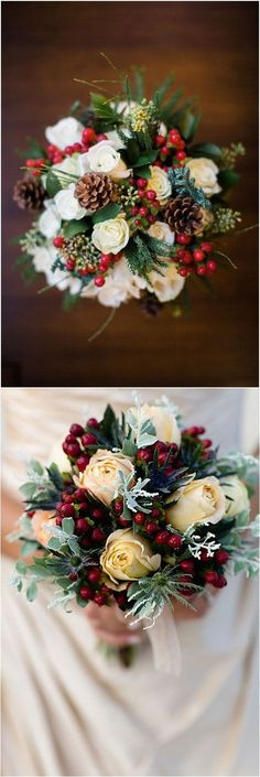 Lovely Pine Bouquet For Your Christmas Wedding 50 Ideas - Beauty of Wedding wedding centerpieces Lovely Pine Bouquet For Your Christmas Wedding 50 Ideas - Beauty of Wedding Christmas Wedding Bouquets, Christmas Wedding Decorations, Red Bouquet Wedding, Christmas Themes, Holiday Wedding Ideas, Bouquet Box, Rose Bouquet, Winter Wonderland Wedding, Theme Noel