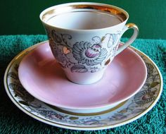 Vintage USSR Latvia Riga RPR Cofee Cup Saucer plate Gold White pink 1970s