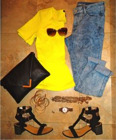 Outfit of the Day: Yellow Top + Floral Denim - www.yannid.net #fashionblog #styleinspiration #ootd #flatshot #neon #oldnavy #forever21