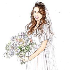 Custom Watercolor BRIDAL ILLUSTRATION x 2 for by LaurieDuncanArt