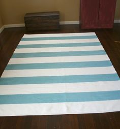 adorable painted rug! skyblue stripes