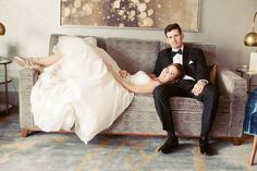 A bride and groom taking a moment.