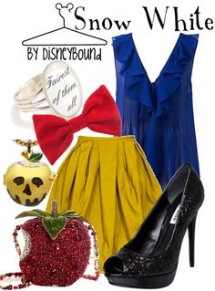 Snow White. Really love the top and shoes. The ring and apple purse make a great addition to the outfit. #disneybound