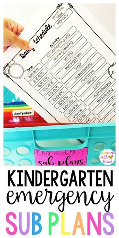 Be prepared for that unexpected sick day with emergency sub plans for kindergarten! activities that align with various Common Core State Standards let you customize sub plans that match what you're teaching right now! With minimal prep and copying, cr Kindergarten Classroom Management, Kindergarten Lessons, Classroom Organization, Classroom Ideas, Classroom Inspiration, Future Classroom, Emergency Sub Plans, Elementary Teacher, Elementary Education