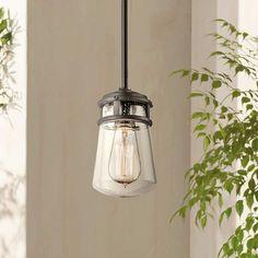 "Kichler Lyndon 9 1/2"" High Seedy Glass Outdoor Pendant - #5R914 | Lamps Plus"
