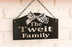 Personalized custom family last name metal hanging sign indoor or outdoor