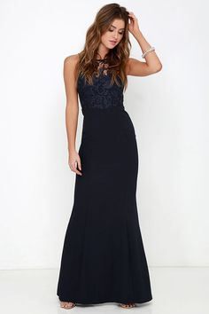 Navy Blue Gown - Lace Dress - Maxi Dress - $78.00