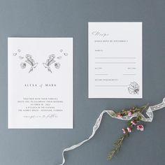Bird Wedding Invitations Elegant Wedding Invites Botanical | Etsy Botanical Wedding Invitations, Elegant Wedding Invitations, Wedding Stationery, Black Envelopes, Card Envelopes, Invitation Cards, Invites, D Mark, Bird Illustration