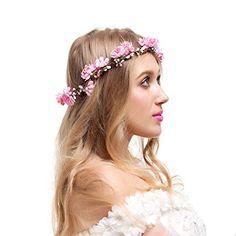 Valdler Elegant Blumenkranz Blumenstirnband Haarkranz Blumenkrone für Hochzeit Festival Haarschmuck Pink