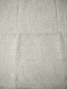 White Lucknowi Kurta Fabric with Chikankari,Appliqué and Hole Work (Kurta Only)