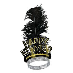Black & Gold Swing New Year's Eve Tiaras (50ct)