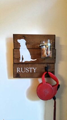 Dog Treat Leash Holder Dog Leash Wall Hook by NotBySightCreations
