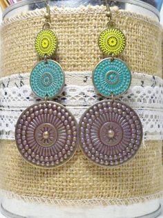Bohemian Blue and Yellow Earrings by FunkyLollipop on Etsy