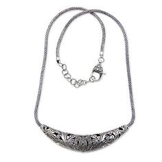 Reversible Sterling Silver Handcrafted Heart Theme Necklace - Fallen Hearts | NOVICA