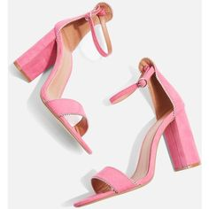 TopShop Selma Silver Trim Sandals (210 PEN) ❤ liked on Polyvore featuring shoes, sandals, pink, pink heeled sandals, pink shoes, textile shoes, heeled sandals and high heeled footwear