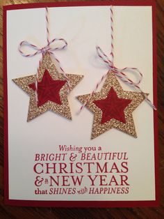 Stampin up star framelits and holiday Bright and beautiful stamp set.