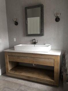New Ideas For Barn Wood Projects Bathroom Rustic Vanity Diy Bathroom Vanity, Rustic Bathroom Vanities, Modern Bathroom, Small Bathroom, Master Bathroom, Barn Bathroom, Charcoal Bathroom, French Bathroom, Master Baths