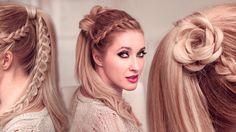 High ponytail hairstyles tutorial for long hair: FLOWER + braided goddess UPDO tutorial Wedding Ponytail Hairstyles, Valentine's Day Hairstyles, Ponytail Hairstyles Tutorial, Formal Hairstyles, Braided Hairstyles, Amazing Hairstyles, Flower Hairstyles, Hairstyles Pictures, Updo Hairstyle