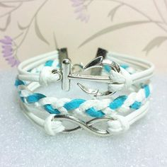 Anchor-Love Bracelet,Infinity Bracelet White Wax Cords and White with Blue braid bracelet.Gift. $7.99, via Etsy.