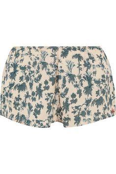 Love Stories - Blush Printed Satin Pajama Shorts - Blue - x small