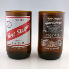 Red Stripe Beer 20 ounce Glasses made from upcycled beer bottles by pic76 on Etsy, $25.00