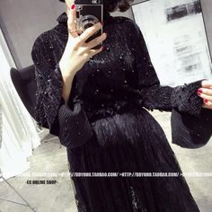 [TWOTWINSTYLE] Spring Korean Pleated Velvet Beading Slit Flare Long Sleeves Base T shirt Women New Fashion