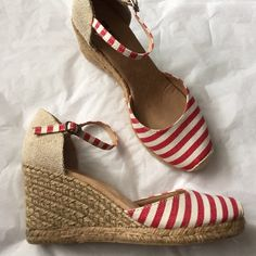 White Mountain Espadrilles! White Mountain 3 inch heel! Buckle strap! Red and tan striped! Gently used condition! These would complete any spring/summer outfit! White Mountain  Shoes Espadrilles