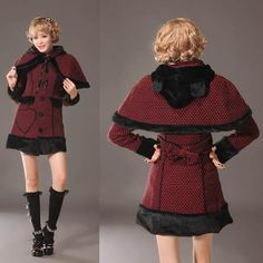 Red Black Checker Gothic Lolita Cat Ear Hooded Dress Trench Coat Women SKU-11401527