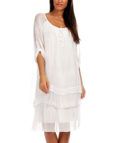Loving this White Embellished Drop-Waist Dress on #zulily! #zulilyfinds